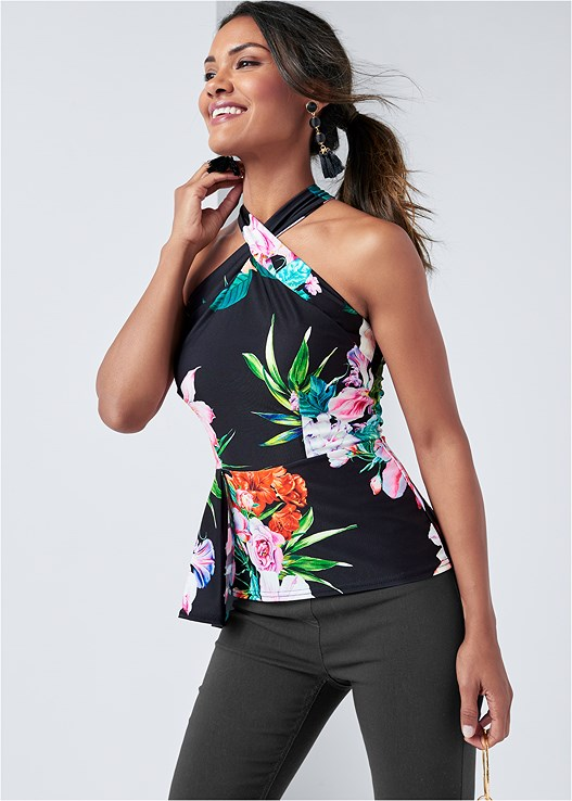 FLORAL PRINT TOP,SLIMMING STRETCH JEGGINGS,RING HANDLE CIRCLE CLUTCH,EMBELLISHED LUCITE HEEL