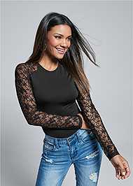 Front View Lace Sleeve Bodysuit