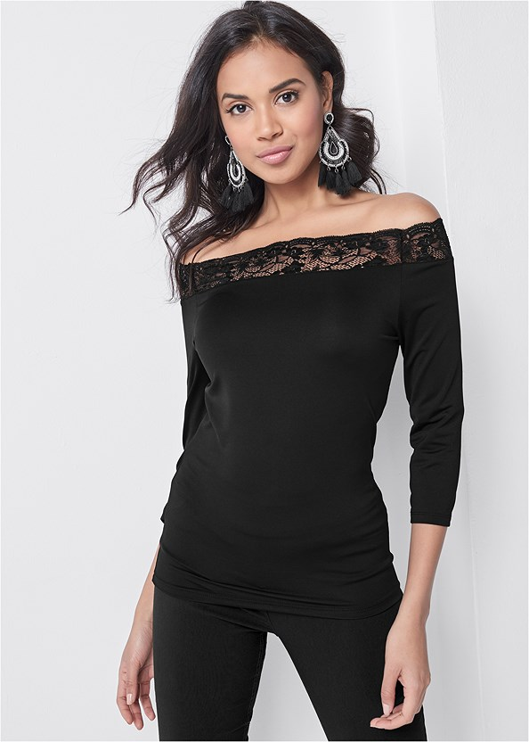 Off The Shoulder Lace Top,Mid Rise Full Length Slimming Stretch Jeggings,Strappy Heels