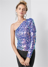 Ghost with background  view One Shoulder Sequin Top