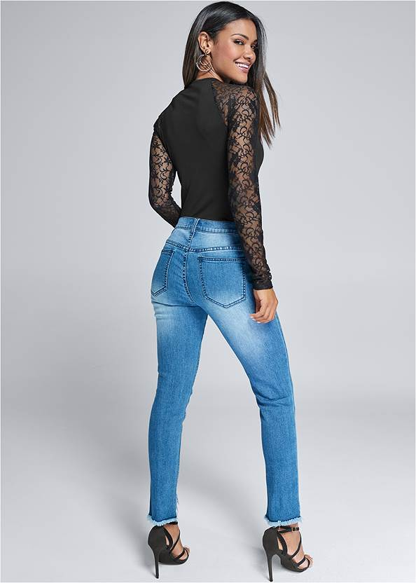 Back View Lace Sleeve Bodysuit