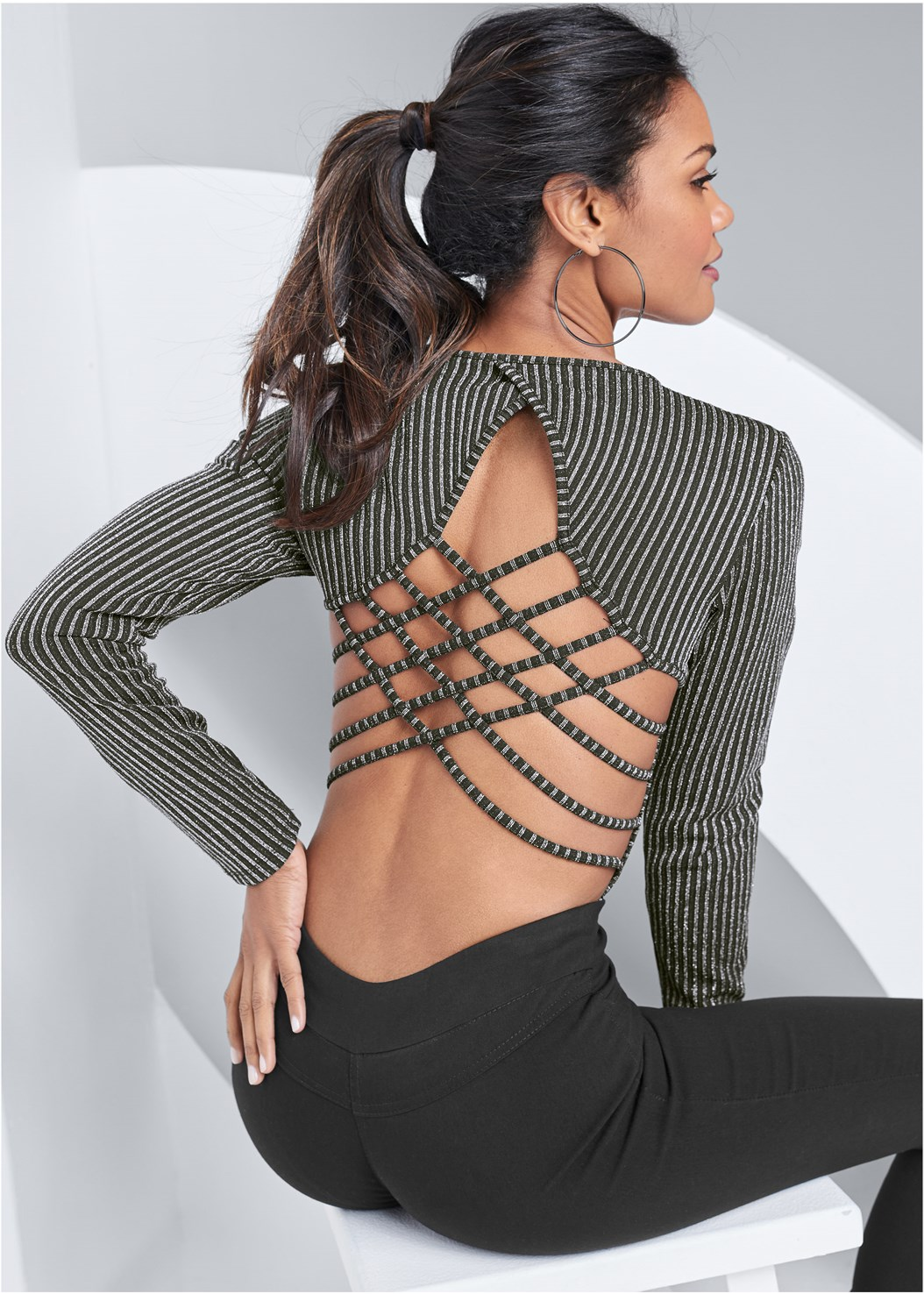 Strappy Back Bodysuit,Mid Rise Slimming Stretch Jeggings,Fold Over Boot