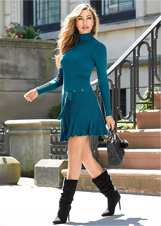 PLEATED SWEATER DRESS,PUSH UP BRA BUY 2 FOR $40,HIGH HEEL SLOUCH BOOT,BAUBLE HOOP EARRINGS,STRUCTURED HANDBAG