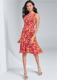 Front View Printed Flounce Dress