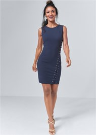 Alternate View Lace Up Bodycon Dress