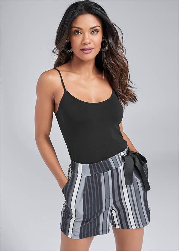 Striped Shorts,Basic Cami Two Pack,Jean Jacket,Espadrille Platform Wedges