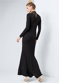 Alternate View Mock Neck Ruffle Long Dress