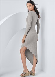 Alternate View Asymmetrical Ribbed Dress