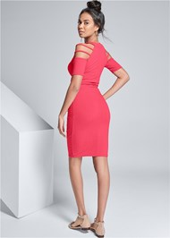 Alternate View Cut Out Sleeve Ribbed Dress