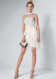 Full front view Faux Leather Fringe Dress