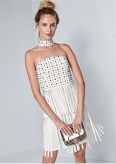 faux leather fringe dress
