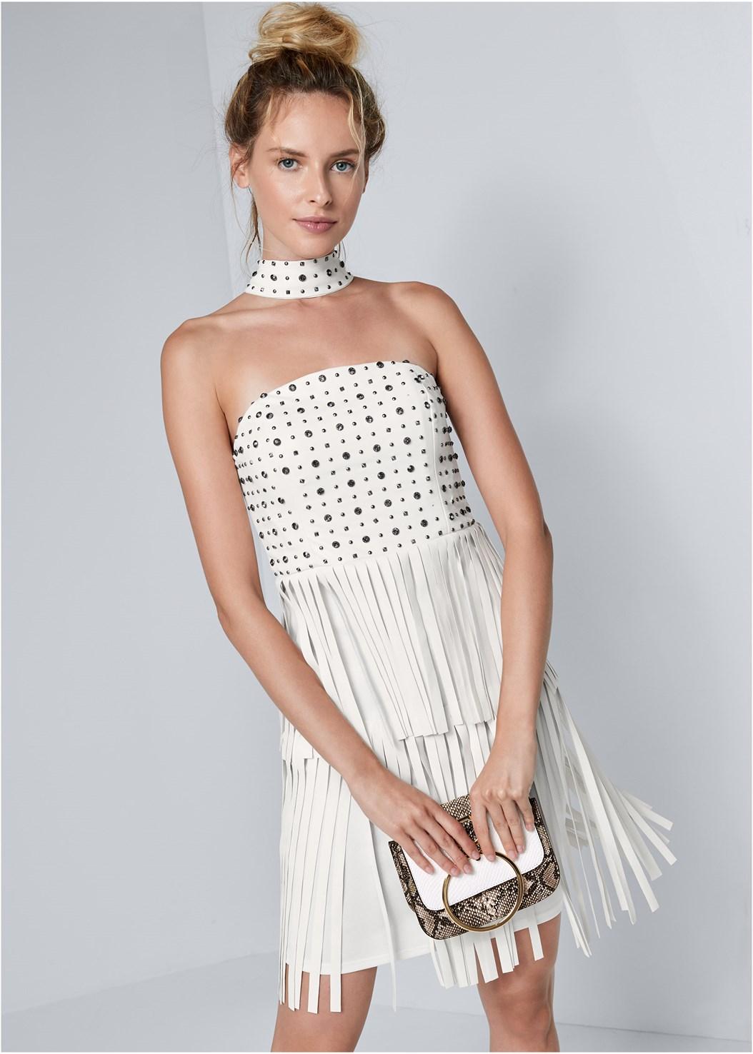 Faux Leather Fringe Dress,Lucite Detail Print Heels,Print Detail Handbag,Fringe Crossbody