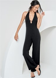 Front View Ribbed Halter Jumpsuit