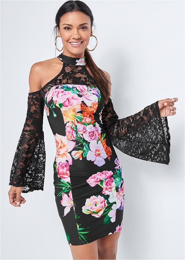 Floral Cold Shoulder Dress,Studded Strappy Heels