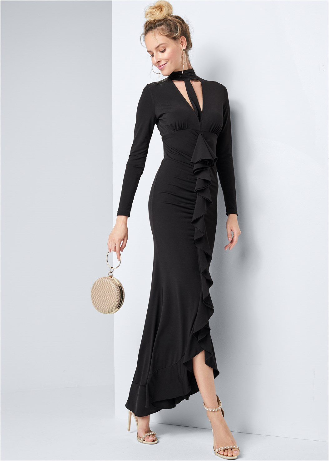 Mock Neck Ruffle Long Dress,Embellished Heels,Ring Handle Circle Clutch