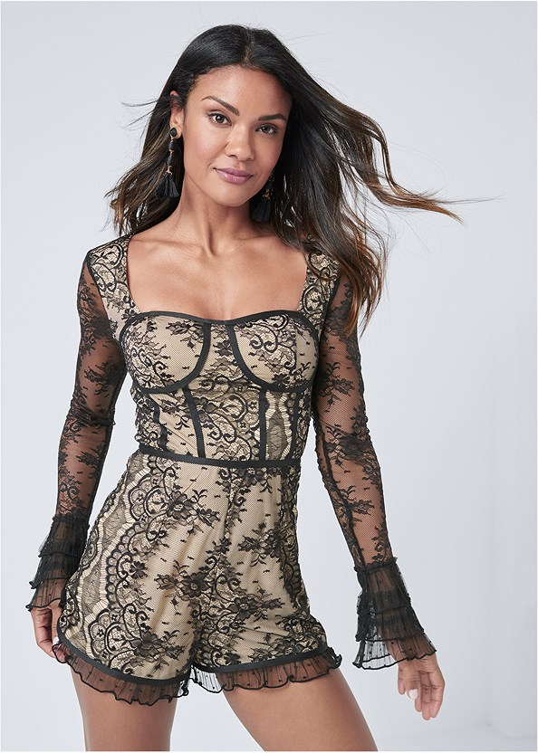 Lace Corset Romper,Bauble Fringe Earrings