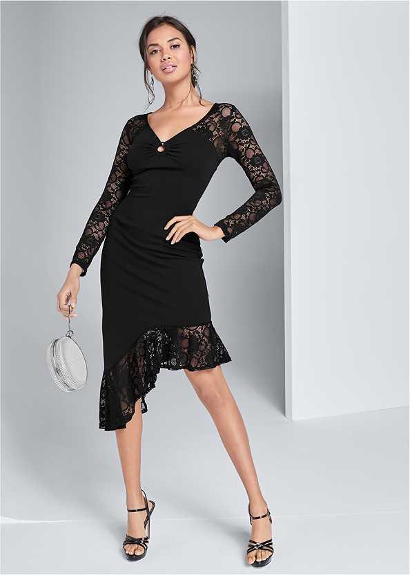 Asymmetrical Lace Dress,Ring Handle Circle Clutch