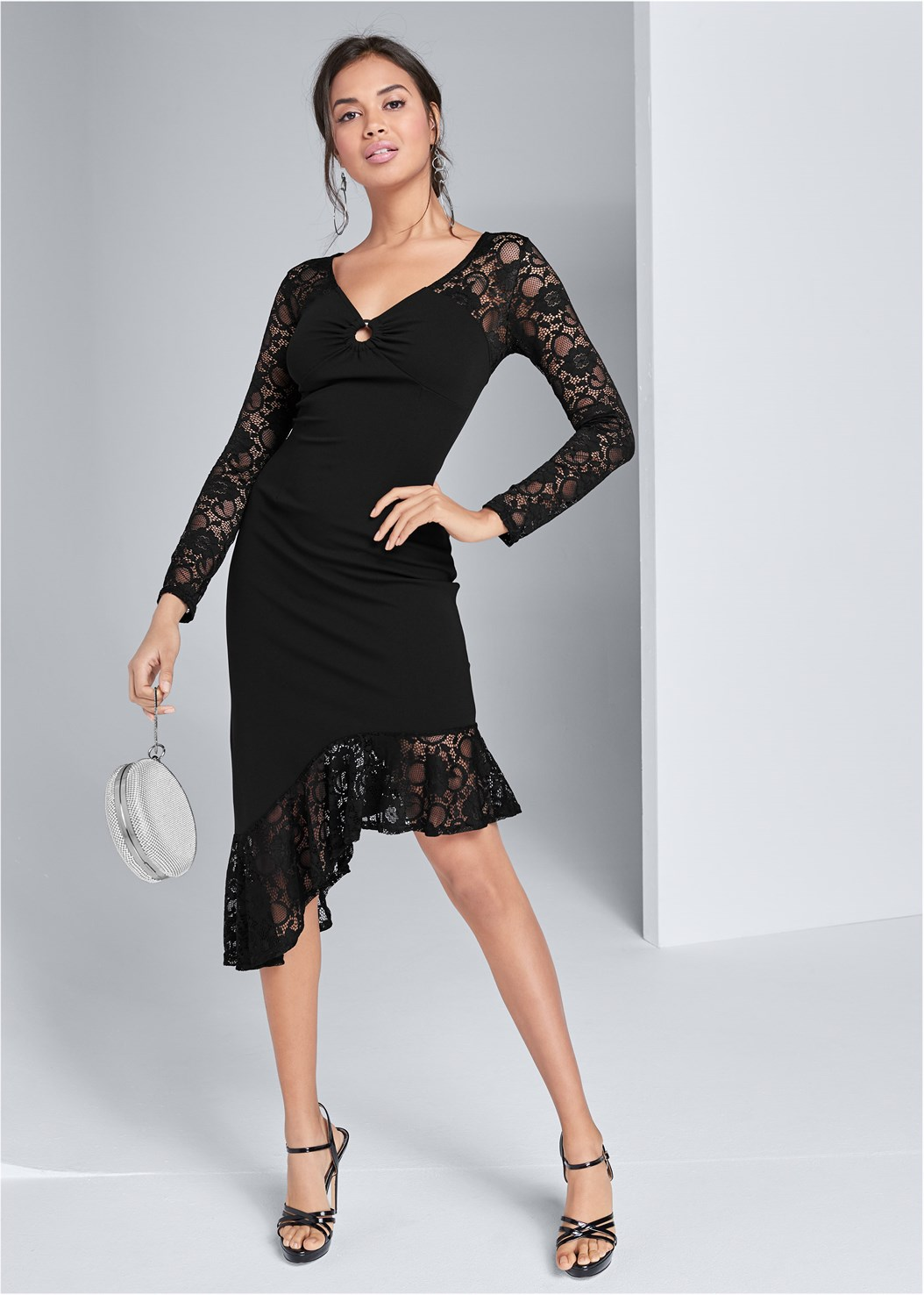 Asymmetrical Lace Dress,Crisscross Strappy Heel,Ring Handle Circle Clutch