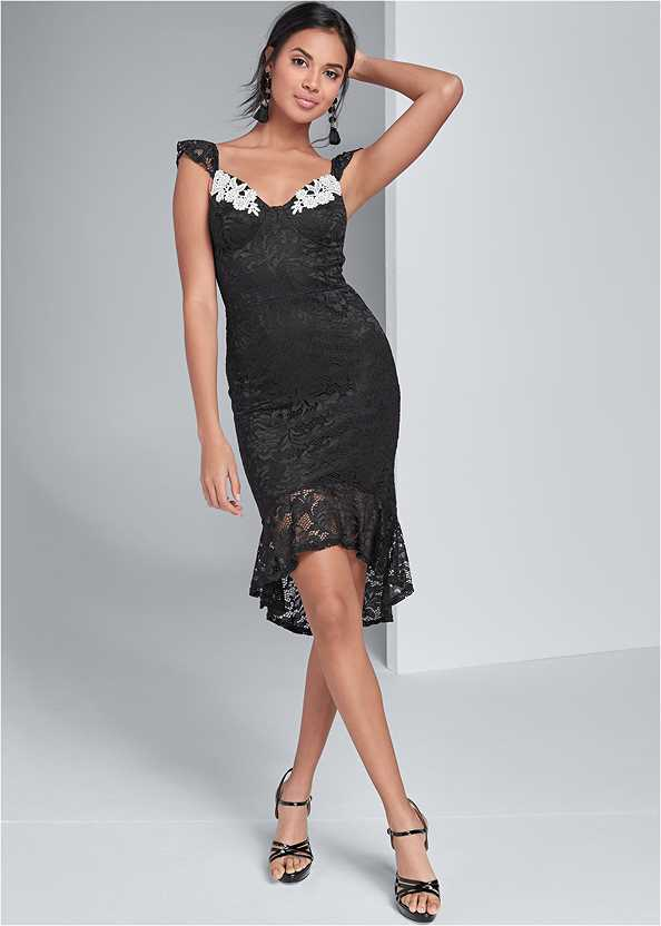 High Low Lace Mini Dress,Bauble Fringe Earrings