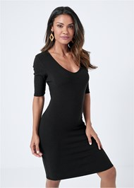 Cropped front view Scooped Neck Ribbed Dress