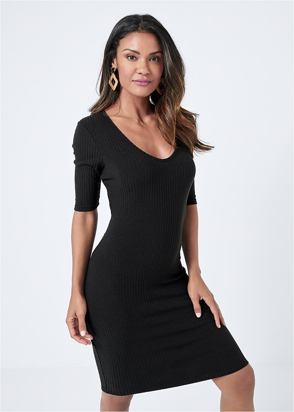 Scooped Neck Ribbed Dress,Wrap Stitch Detail Booties
