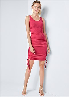 ruched ribbed tank dress