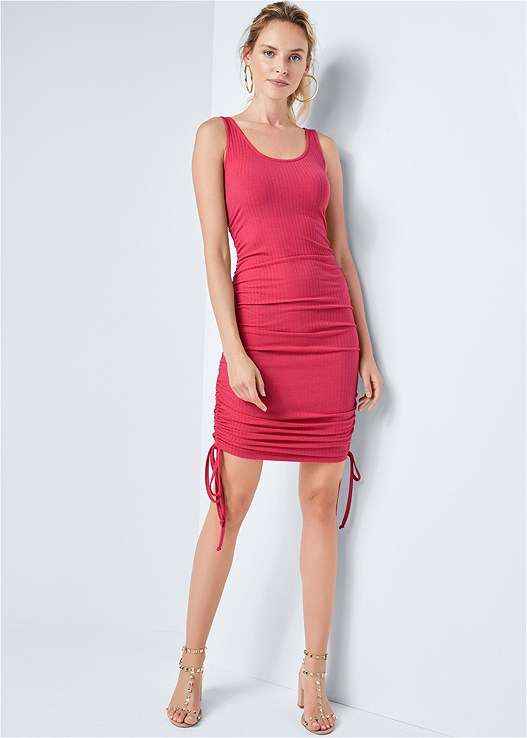 RUCHED RIBBED TANK DRESS,TRANSPARENT STUDDED HEELS