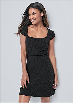 square neck ribbed dress