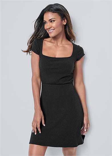 Square Neck Ribbed Dress