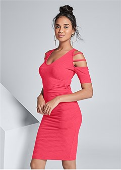 cut out sleeve ribbed dress
