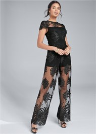 Full front view Wide Leg Lace Jumpsuit