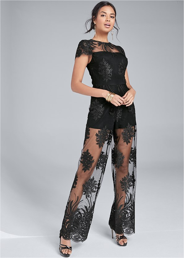 Wide Leg Lace Jumpsuit,Crisscross Strappy Heel