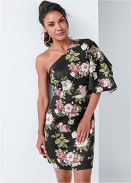 Cropped front view Floral One Shoulder Dress