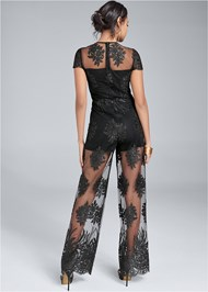 Back View Wide Leg Lace Jumpsuit