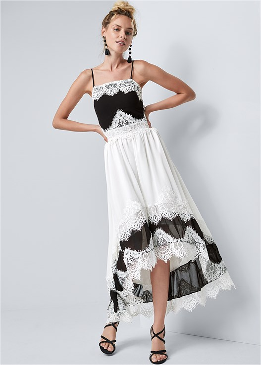 HIGH LOW LACE DETAIL DRESS,STRAPPY HEEL