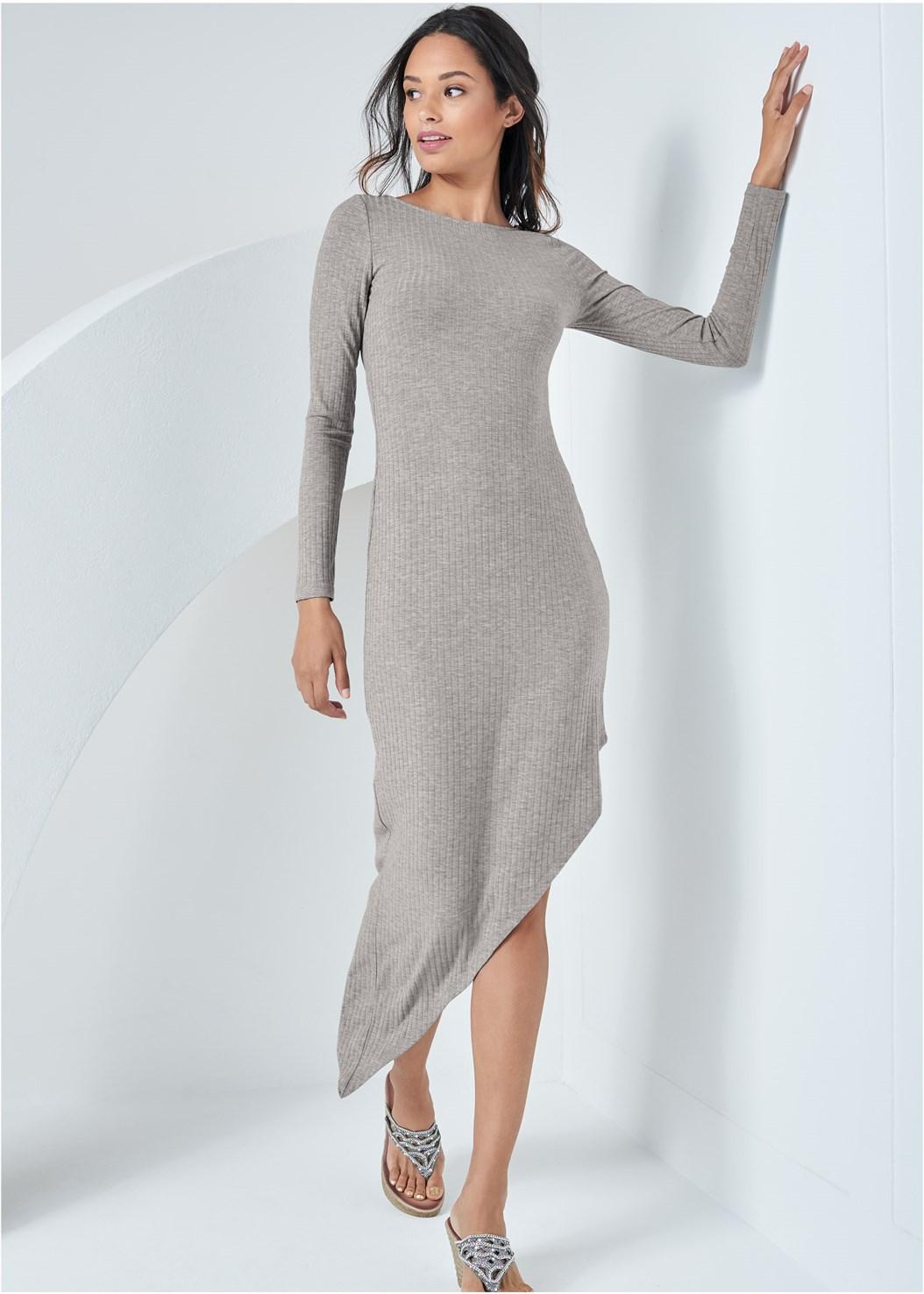 Asymmetrical Ribbed Dress,Embellished Wedges