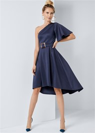 Full front view One Shoulder Belted Dress