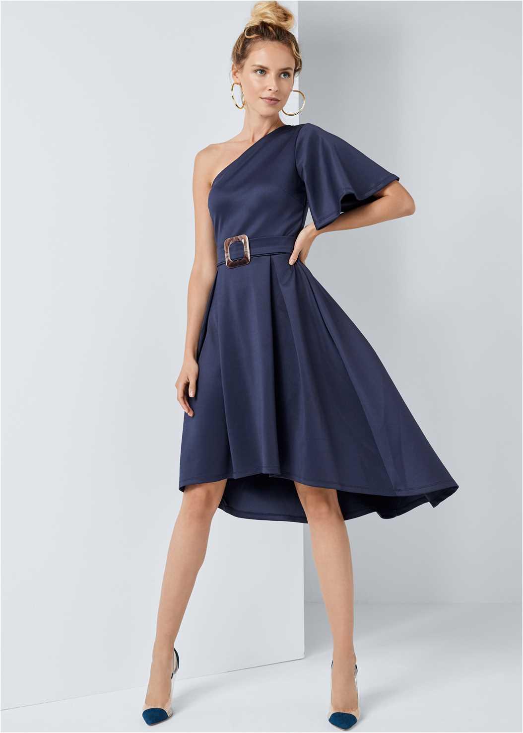 One Shoulder Belted Dress,Lucite Detail Heels