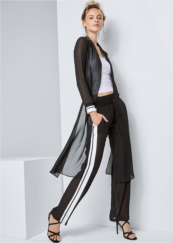 Stripe Trim Sheer Jacket,Basic Cami Two Pack,Side Stripe Sheer Pants