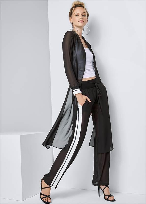 Stripe Trim Sheer Jacket,Basic Cami Two Pack