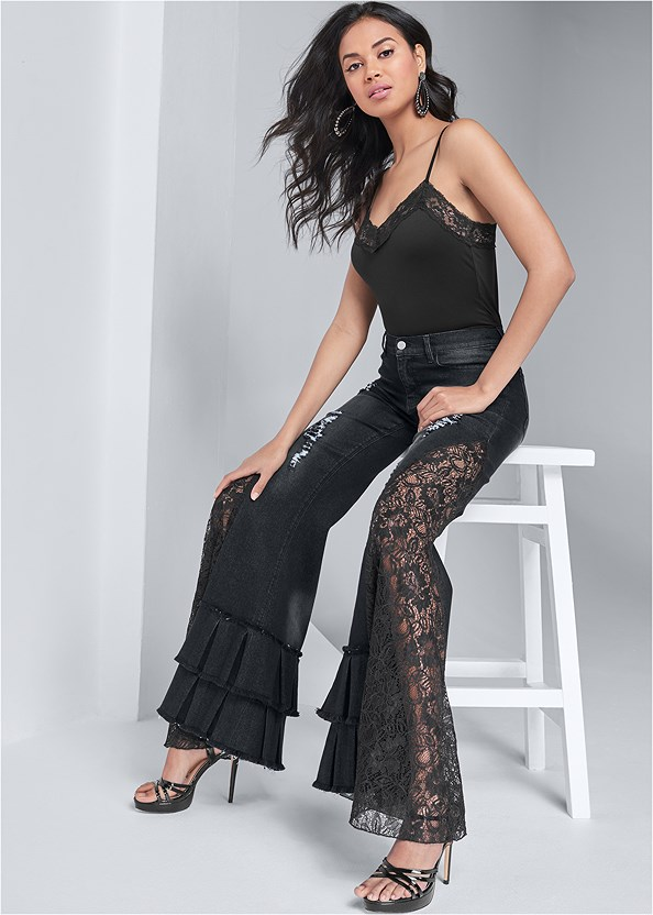 Lace Inset Flare Jeans,Lace Cami,Crisscross Strappy Heel,Tear Drop Earrings