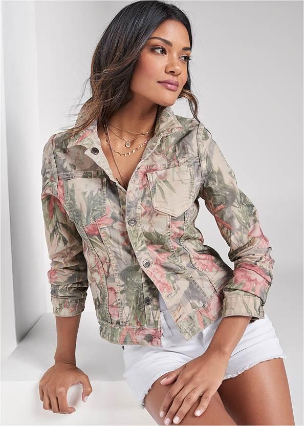 Reversible Denim Jacket,Frayed Cut Off Jean Shorts