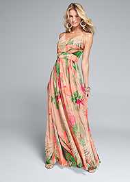 Front View Tropical Print Gown