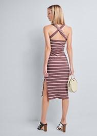 Alternate View Ribbed Striped Midi Dress