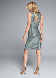 Full back view Ruched Sparkle Dress