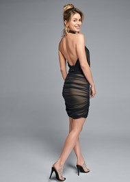 Alternate View Ruched Mesh Lace Trim Dress