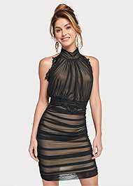 Front View Ruched Mesh Lace Trim Dress