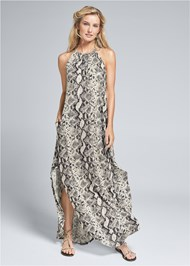 Full front view Python Print Casual Dress