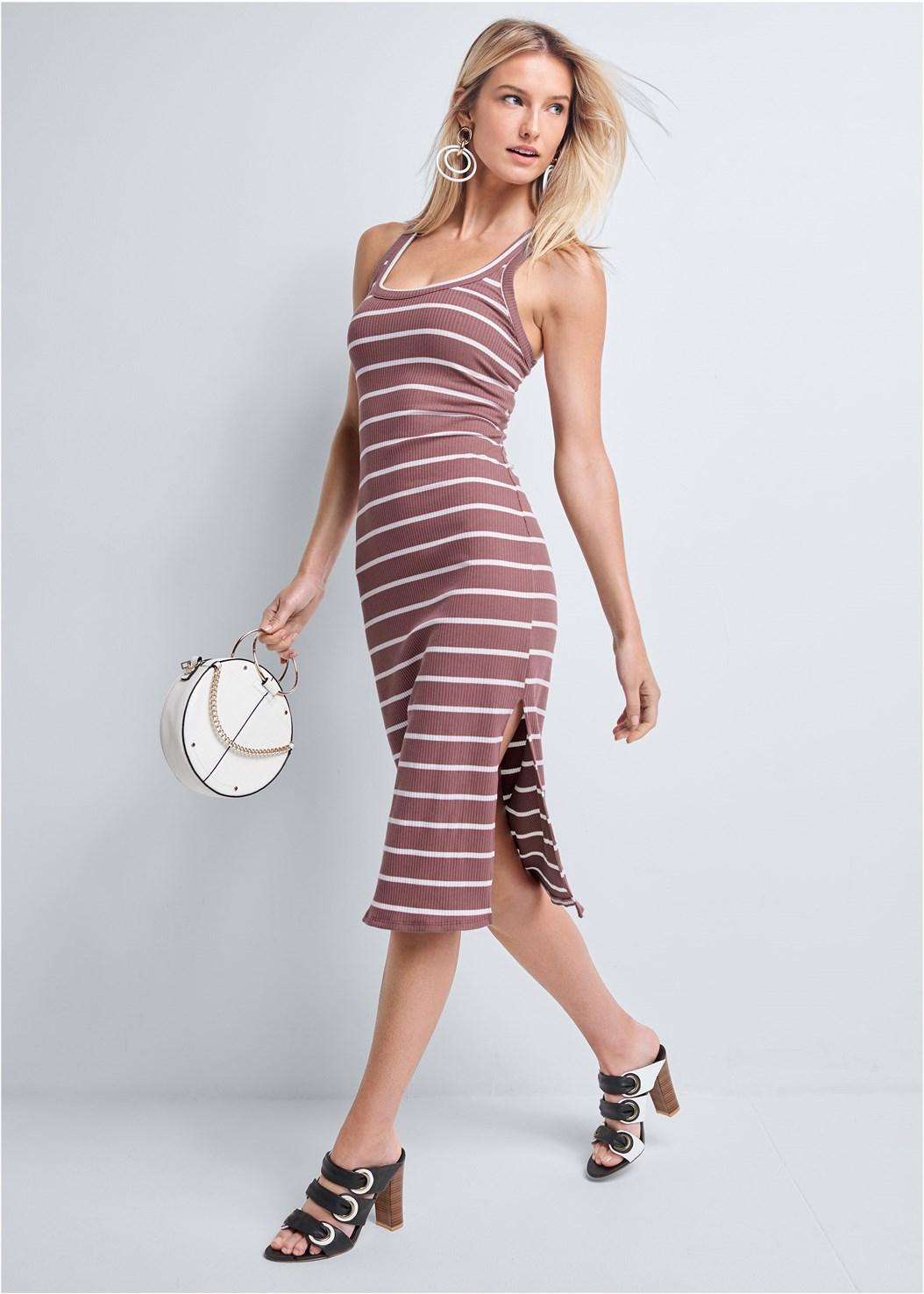Ribbed Striped Midi Dress,Color Block Hoop Earrings,Circle Ring Detail Handbag
