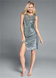 Full front view Ruched Sparkle Dress